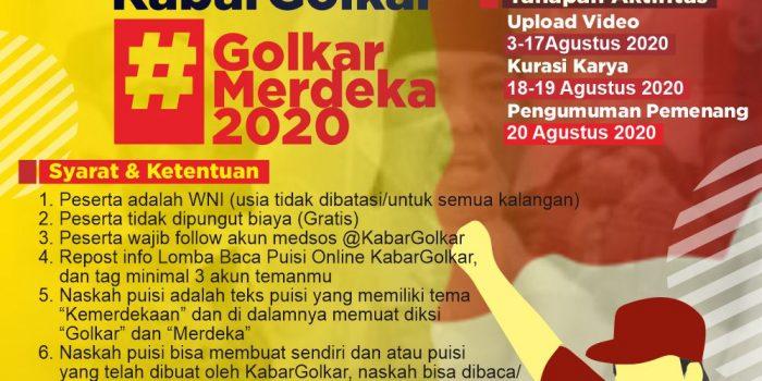 Poster Lomba Baca Puisi Online KabarGolkar #GolkarMerdeka2020