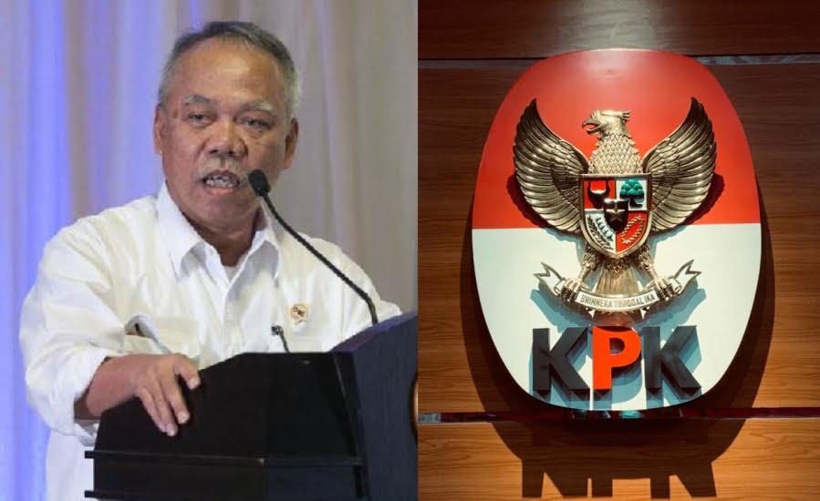 Kolase Menteri PUPR Basuki Hadimuljono dan logo KPK