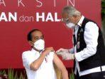 Presiden Joko Widodo disuntik vaksin corona
