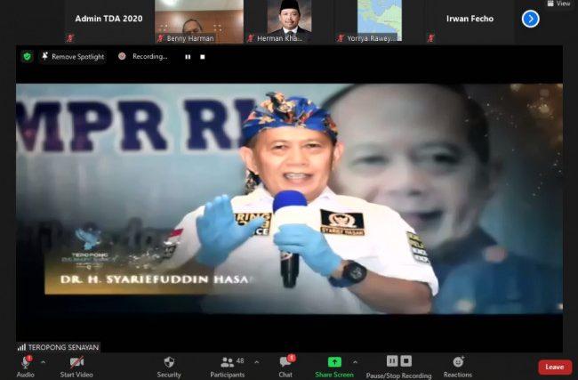 Tangkapan layar virtual zoom Syarief Hasan